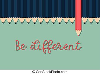 rouges, penser couleur, dehors, debout, concept., crayon, différent, pencils., terne