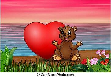 rouges, séance, coeur, rigolote, ours, plage, bébé