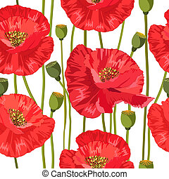 rouges, seamless, texture, coquelicots
