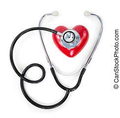 rouges, stéthoscope, coeur