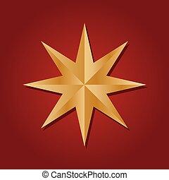 rouges, star., conception, arrière-plan., décoratif, doré, tridimensionnel, hexagone, réaliste, six, icône, isolé, élément, pointu, facetté