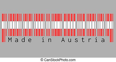 rouges, text:, barcode, fait, couleur, austria., blanc, ensemble, drapeau autriche