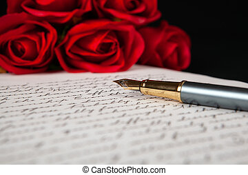 rouges, texte, lettre, stylo fontaine, roses