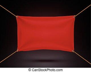 rouges, textile, bannière