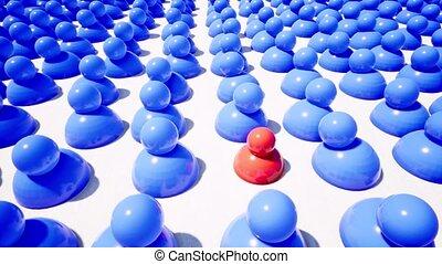 rouges, une, bleu, entourer, unique, métrage, figures