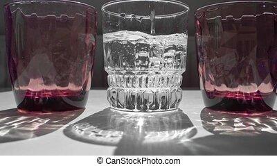 rouges, verre, dur, sunlight., ombres, blanc, table., cristal