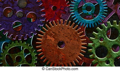 rouillé, engrenages, coloré, mécanique