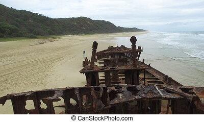 rouillé, plage, bateau