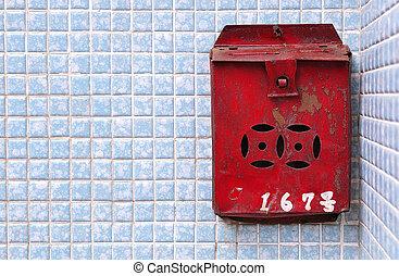 rouillé, postbox, hong, rouges, kong