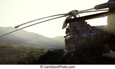rouillé, vieux, coucher soleil, hélicoptère militaire, désert