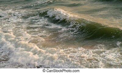 roulé, plage, mer, vagues