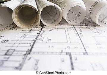 rouleaux, plans, architecte