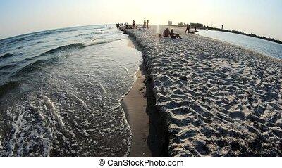 rouler, plage., sablonneux, mer, vagues