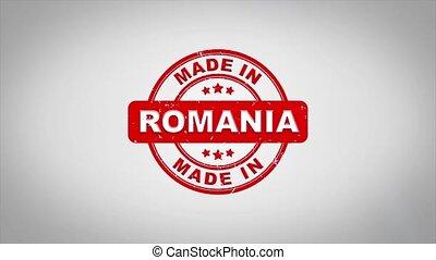 roumanie, compostage, bois, texte, animation., signé, timbre, fait