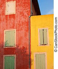 roussillon, coloré, murs