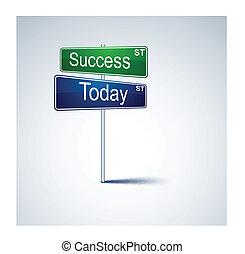 route, aujourd'hui, direction, signe., reussite