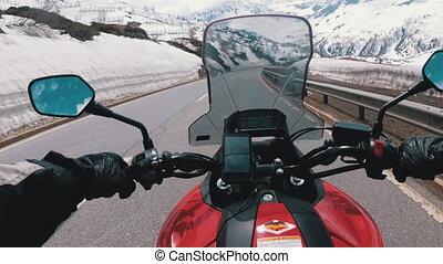 route, beau, motocycliste, montagne, promenades, paysage, suisse, alpes, neigeux