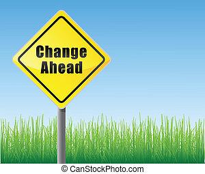 route, changement, devant, signe