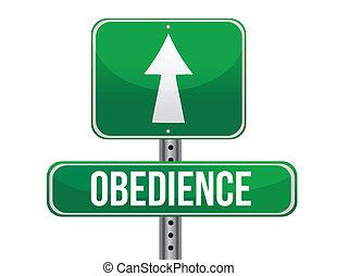 route, conception, obéissance, illustration, signe