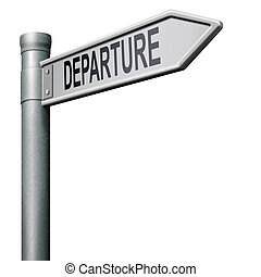 route, départ, signe flèche