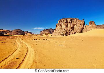 route, désert, algérie, sahara, tadrart