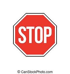 route, eps, design., signe, arrêt, vecteur, illustration, signe rue, 10.