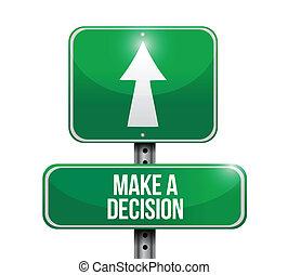 route, faire, décision, illustration, signe