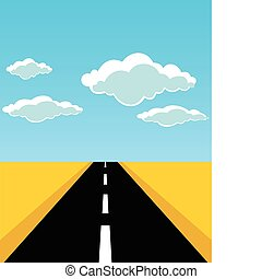 route, feuilles, vecteur, horizon., illustration