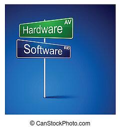 route, logiciel, direction, signe., matériel
