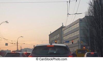 route, lumières, embouteillage, signes