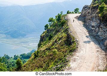 route, marche, homme, montagnes., pays