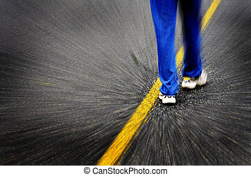 route, marche, ligne, jaune, homme