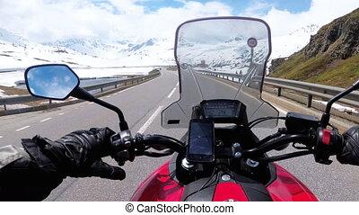 route montagne, beau, motocycliste, neigeux, alpes, paysage, suisse, promenades