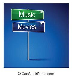 route, musique, films, direction, signe.