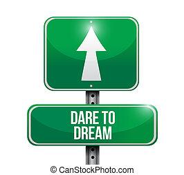 route, rêve, défi, illustration, signe