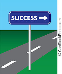 route, reussite, signe