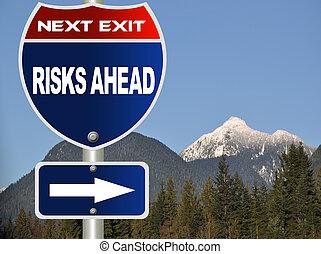 route, risques, signe, devant