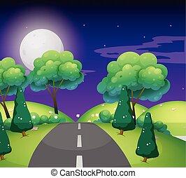 route, scène, vide, nuit