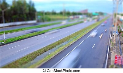 route, tilt-shift, trafic