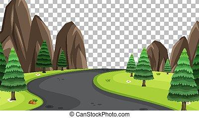 route, transparent, parc, scène, paysage, fond, vide, nature, long