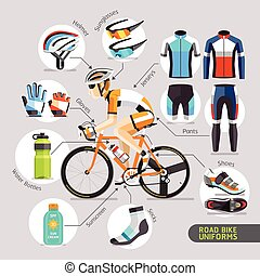 route, uniforms., vélo