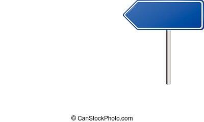 route, vide, signes, bleu