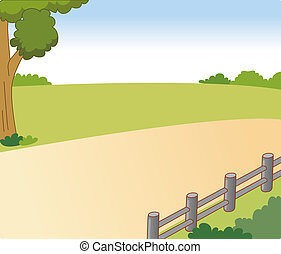 route, village, arbre