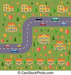 route, village., plan, paysage