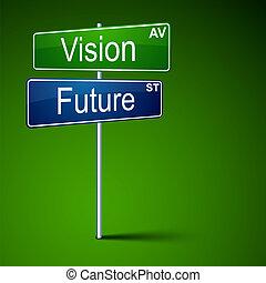 route, vision, signe., direction, avenir