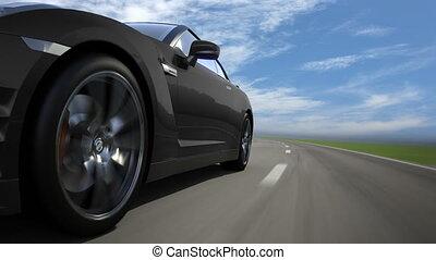 route, voiture, loop-ready, noir, en mouvement, sport