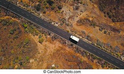 route, voiture, sommet, canari, espagne, tenerife, long, promenades, désert, îles, vue