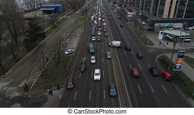 routes, glace, copter, bas, glissant, ciel, aérien, tourné, vue, noir, panoramique, dessus, sommet, accident, voler, bourdon, voiture