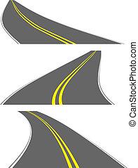 routes, vecteur, perspective