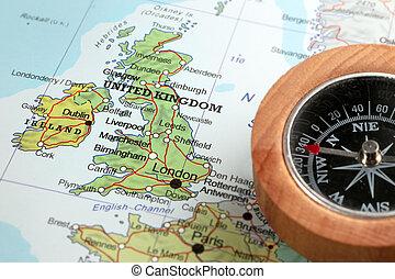 royaume, carte, uni, destination voyage, irlande, compas